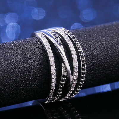Infinity Women 925 Silver Rings Black & White Sapphire Wedding Ring Size 6-10