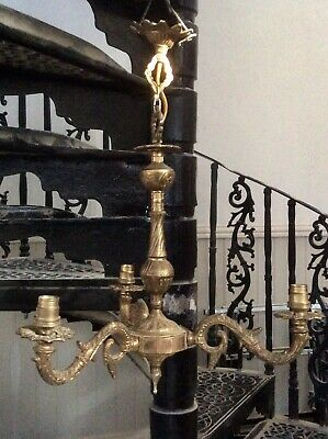 Antique Vintage Ornate Brass 3 Arms Chandelier,Light,Lamp,Church Salvage,1 Of 2