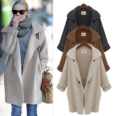 Women Waterfall Parka Coat Trench Jackets Outwear Ladies Wool Plus Size Overcoat