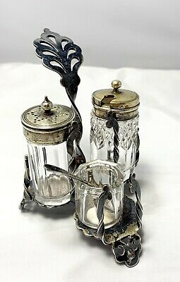 Antique Brittish Sterling Silver Marked Salt Pepper Shakers, Mustard W/Spoon