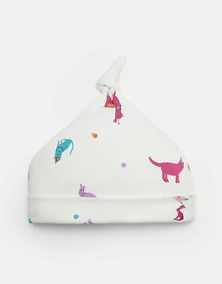 Joules 204662 Jersey Hat With Top Knot in CREAM FESTIVAL FRIENDS Size 0min3m