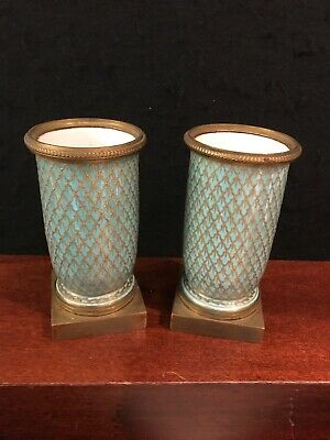 """2 ANTIQUE 19C FRENCH """"SEVRES"""" HANDPAINTED PORCELAIN AND BRONZE FLOWER VASES-o121"""