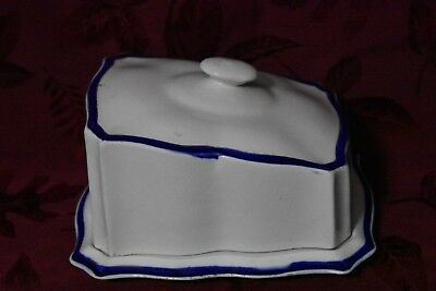 Antique Victorian Large English Cheese Keeper Dish w/ Lid Cobalt, Gold on White