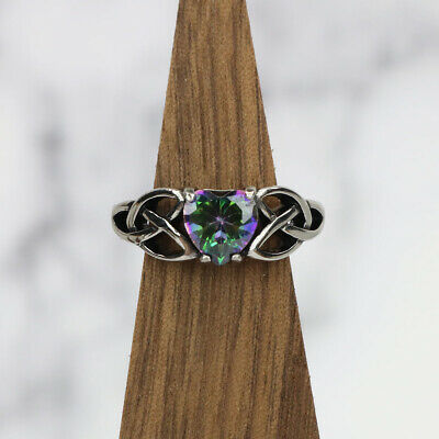 Mystic Crystal Celtic Knot Heart Ring