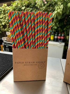 Rainbow Paper Drinking Straws - Party Straws  - UK made 100% biodegradable