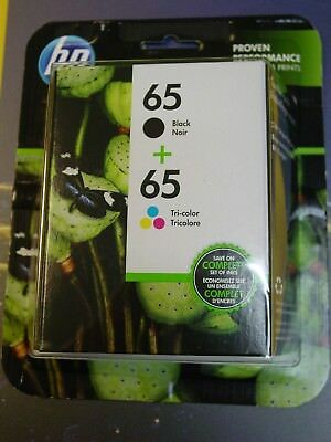 Genuine HP 65 Black / 65 Tri-color Ink Cartridges Combo - Expire 04/2020 - NEW