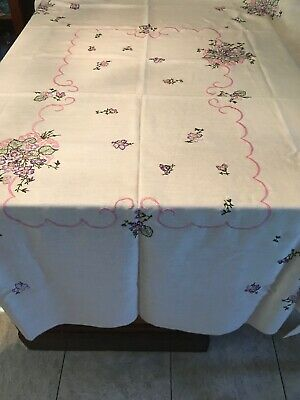 "Beautiful Vintage Floral Embroidered Linen Tablecloth  80x60"" Purple And Pink"