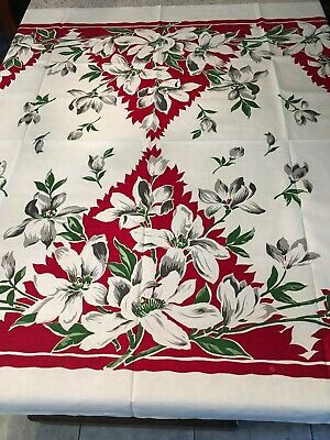 """Striking Red, White, Gray Flowers Vintage 50s Cotton Tablecloth 50 X 52"""""""