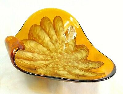Vintage Large MCM Murano Art Glass Console Dish Bowl Hand blown Green Amber 10""