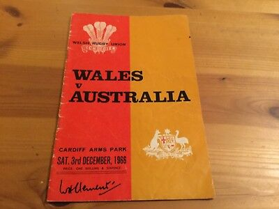 RUGBY UNION PROGRAMME: Wales v Australia 1966