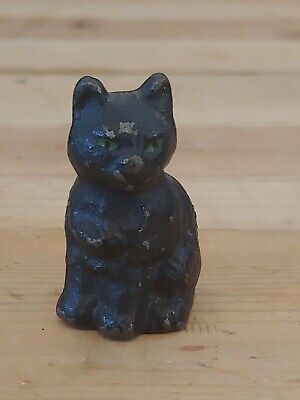 Vintage/Antique Hubley? Cast Iron Black Cat w/ Green Eyes Paperweight Figurine