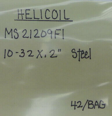 """(42) Helicoil 10-32 X .2"""" MS21209F1"""