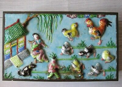 ANTIQUE Chinese Republic Period Enamel on Copper RELIEF Large BOX with CHICKENS
