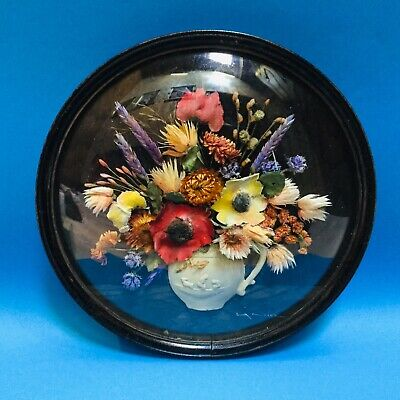 Vintage Antique LA NIVE Floral Real Dried & Ceramic Flowers Wall Hanging Plaque