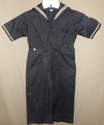 VTG ORIG 20s 30s  BOYS COTTON CHINO TWILL SAILOR SUIT OUTFIT NEW OLD NOS SZ 7