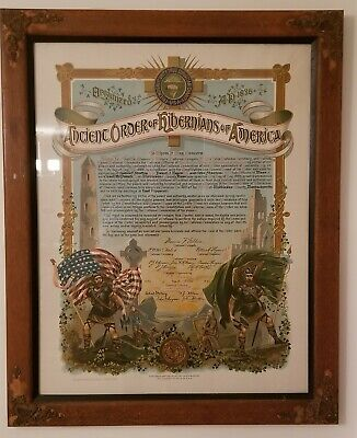 1889 charter of the 29th division of the Ancient Order of Hibernians of America.