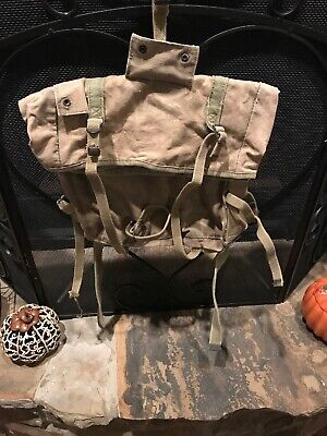 WWII WW2 U.S. British Backpack Combat,Bag,Original,Canvas,Military Named 🇺🇸