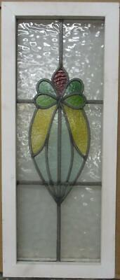 "MIDSIZE OLD ENGLISH LEADED STAINED GLASS WINDOW Abstract Floral 12.25"" x 29.25"""