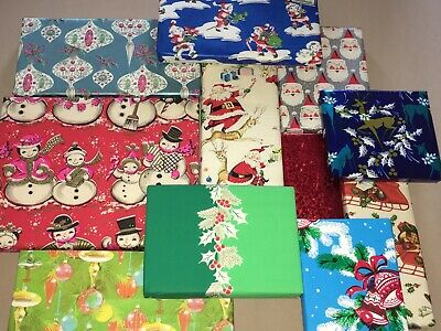 11 Vtg Christmas Wrapping Paper Gift Wrap Packages For Display Cute