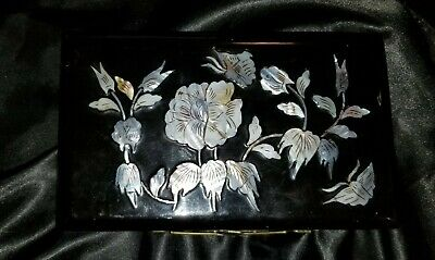 Vintage Black Lacquer Mirrored Jewlery Box with Mother of Pearl Inlay