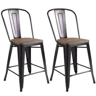 Astounding Set Of 2 Tolix Style Metal Dining Chairs Wood Seat Stackable Machost Co Dining Chair Design Ideas Machostcouk