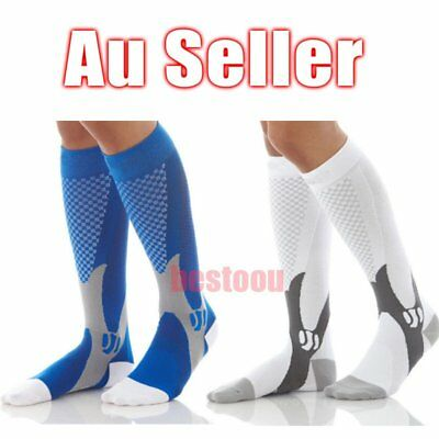 New Unisex Compression Socks Leg Support Open Knee Stockings Sox qW
