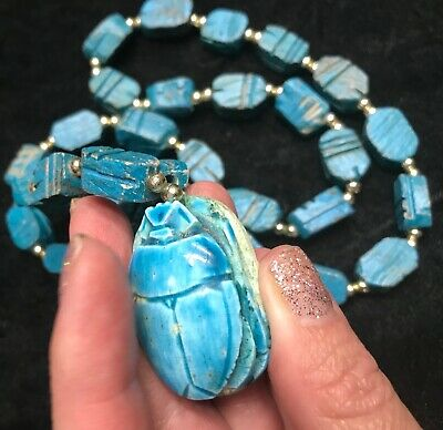 Vintage Scarab Faience & wood turquoise color Bead Egyptian style Necklace