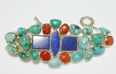 Sterling Silver Coral Turquoise Lapis Chunk Extra Large Bracelet Unisex Heavy