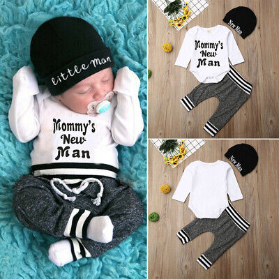 UK 3Pcs Newborn Baby Boys Clothes Cotton Romper Top Pants Trousers Autumn Outfit