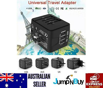 JOLLYFIT International Universal Travel Adapter 4 USB 2.4A Charger AC Power