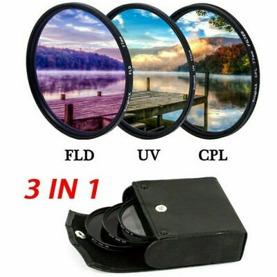 49-82MM UV+CPL+FLD Lens Filter Set with Bag for Canon Nikon Sony Pentax Camera