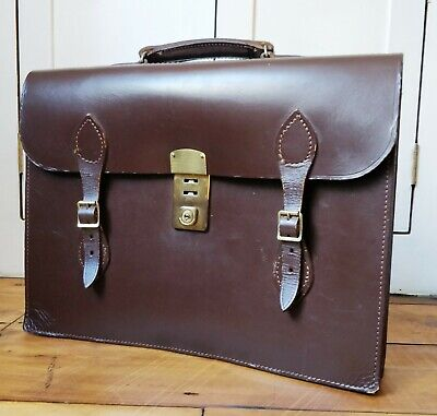 VINTAGE LEATHER SATCHEL BRIEFCASE LAPTOP BAG travel hand luggage Cheney