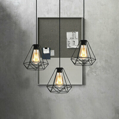Vintage E27 Ceiling Pendant Light Retro Industrial Metal Cage Light Fitting Kit
