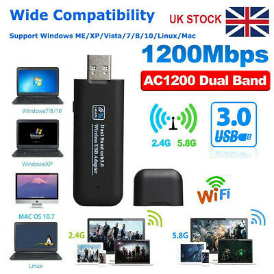USB 3.0 Wireless WiFi 1200Mbps Network Receiver Adapter 5GHz Dual Band Dongle UK