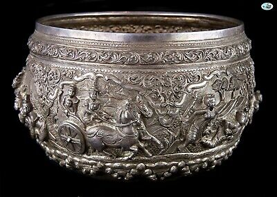 Antique 1800 Stamped Large Asian Burmese Repoussé Royal Worshipers Silver Bowl