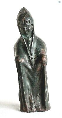 Scarce Ancient 1st Century AD Roman Standing Monk Male Bronze Figurine Statue