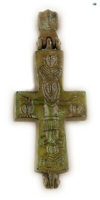 "Ancient 10-12th Cent. Byzantine Christ ""Orans"" Bronze Reliquary Cross Pendant"