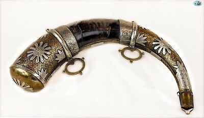 Awesome 19th Century Silver-Mounted Moroccan Powder Horn of Impressive Size