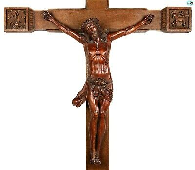 Spectacular Early 1800s Antique American Wooden Carved Cross of Jesus Christ