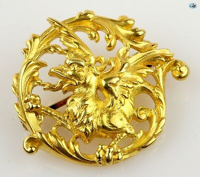 Adorable 1850 Antique French Vintage 18K Yellow Gold Griffin Dragon Brooch Pin