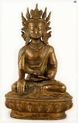Antique Asian Chinese 1800 Crowned Smiling Tara Buddha Gilded Bronze Statue