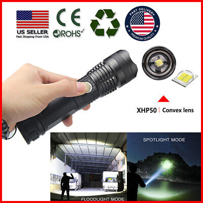 Zoomable XHP50 5 Modes LED USB Rechargeable 18650 26650 Flashlight Torch USA