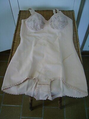 Vntge PARIS 50s Floral Lace Pantie Girdle Corset  Slip Corselette BODY NEW