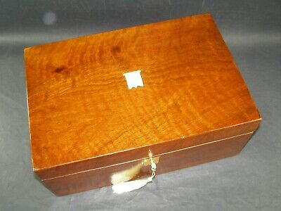 Antique Mahogany Document Box Working Lock & Key c1870 Brass Shield Center