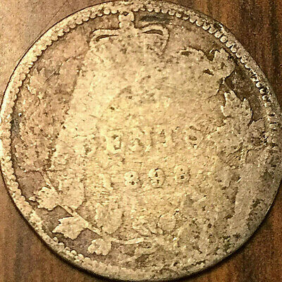 1898 CANADA SILVER 10 CENTS DIME - Well worn