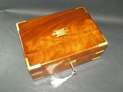 Antique Mahogany Box Brass Corners, Straps & Center Working Lock & Key c1860
