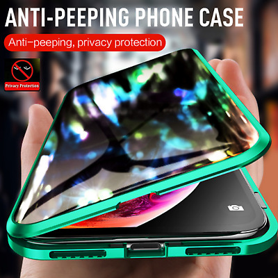 Anti Peep Magnetic Phone Case Double Glass Cover iPhone 11 Pro MAX X XR 7 8 Plus