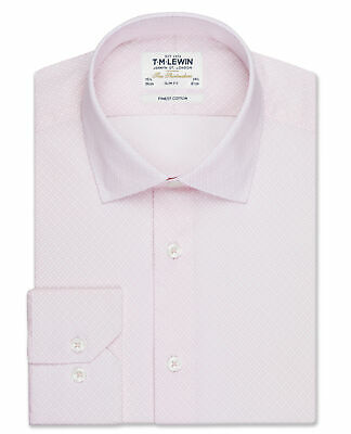 T.M.Lewin Gyroscopic Print Fitted Pink Single Cuff Shirt
