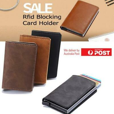RFID Blocking Leather Credit Card Holder Money cash Wallet Mens Clip Purse