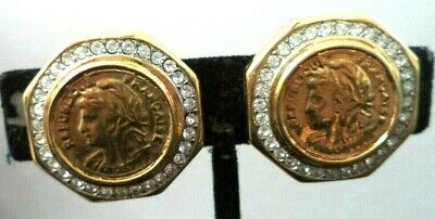 "Vintage Estate *Couture* French Faux Coin Rhinestone 1"" Clip Earrings!!! G815Q"